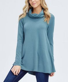 922caf0378524 Cool Melon Jade Elbow-Patch Cowl Neck Sweater - Women   Plus