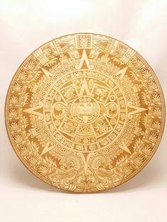 Wood Aztec calendar laser engraving