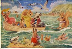 Water Ski-ing, Pk 317, Racey Helps, vintage postcard, Water Fun by sharonfostervintage on Etsy