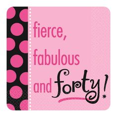 When her birthday calls for a fun, flirty and fashionable affair, our 40th Birthday Another Year of Fabulous Theme party supplies will help her celebrate in style!  These birthday party supplies have a wildly feminine appeal with their contemporary look, hot pink and black colors and trendy polka dots!So when the birthday girl is turning 40, our  40th Birthday Another Year of Fabulous Theme  party supplies will provide a fun party atmosphere that can easily be coordinated with any black and…