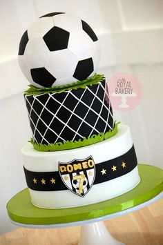 Soccer/football Cake I used Not Just Cakes by Annie's hexagon and pentagon cutters that fit SO perfectly on the Wilton ball. Soccer Birthday Cakes, Football Birthday, Soccer Party, Soccer Cakes, Soccer Ball Cake, Football Soccer, Soccer Theme, 8th Birthday, Just Cakes