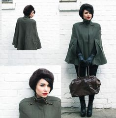 Vintage military cape and fur hat! Vintage Fall, Character Costumes, Historical Costume, Capes, Beauty And The Beast, Fall Fashion, What To Wear, Cool Outfits, Blazers