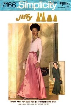 A Jiffy Pattern  Dress & Top Sized for Stretch Knits Only  Size 14 Bust 36  UNCUT  Envelope has some wear & age discoloration  RARE