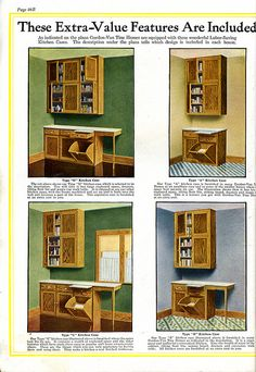 Interior views of Gordon-Van Tine Kit Homes (1920). Kitchen cabinetry.