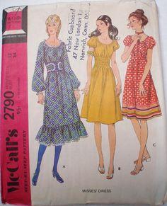1970's Boho Dress Pattern  McCall's 2790  Size 12 by Shelleyville