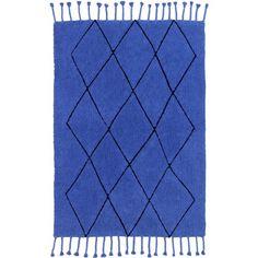 Tapis Berebere Bleu Klein, couleur bleu et noir, style berbère, en coton lavable en machine, Lorena Canals. Noir Style, Lorena Canals, Tapis Design, Klein, Rugs, Home Decor, Diamond Pattern, Color Blue, Farmhouse Rugs