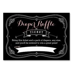 Sweet Fancy Baby Shower Diaper Raffle Insert Large Business Cards  Pack Of 100