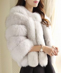 Elegant Round Collar 3/4 Sleeve Pure Color Faux Fur Coat For Women