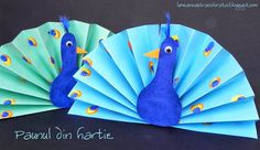 Pauni din hartie - Peacock craft for kids