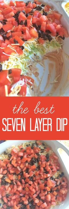 Layers of beans, sour cream, fresh guacamole, shredded cheese, and loaded with fresh veggies! This 7 layer dip will be one that no one can refuse. Serve with some crisp corn tortilla chips. by goldie Appetizer Dips, Appetizers For Party, Appetizer Recipes, Party Dips, Party Snacks, Party Games, Dip Recipes, Mexican Food Recipes, Cooking Recipes