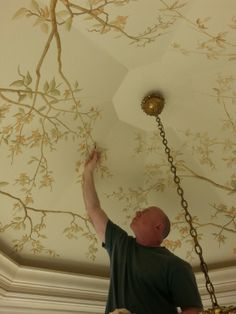 Ceiling Mural in Progress, Henry van der Vijver Ceiling Murals, Ceiling Decor, Ceiling Design, Wall Murals, Ceiling Ideas, Drop Ceiling Panels, Ceiling Detail, Mural Painting, Ceiling Painting