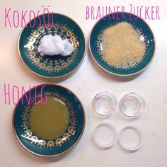 Zutaten für das DIY Lush Lippenpeeling: Kokosöl, Zucker, Honig