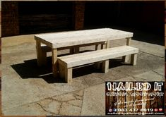6 Seater table and bench set. Perfect for indoor & outdoor use. If it's made from wood, we'll build it. For more info contact us on 0834376919 or naileditpallets@gmail.com #outdoorpatio #outdoorfurniture #patiofurniture #palletfurniture #tableandbenches #naileditwoodworxdurban #custompalletwoodfurnituredurban #custompalletfurniture #palletbenchseat #naileditpalletwoodfurniture #nailedpalletfurnituredurban #naileditcustombuiltpalletfurniture