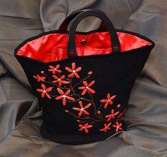 CROCHET ORIENTAL PURSE Handmade With  Blooming Flowers Ooak Large  Black And Ivory Or Black Bag