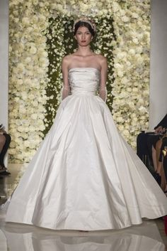 Reem Acra Strapless A- Line Gown in Silk Taffeta | KleinfeldBridal.com