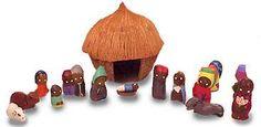 Coconut Shell Nativity Scene - Haiti
