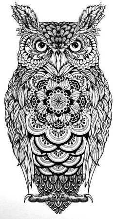 Man And Women Tattoo : . tattoo owl tatoos owl zentangle coloring page owls owl tattoo more, Owl Tattoo Design, Tattoo Designs, Tattoo Ideas, Owl Coloring Pages, Mandala Coloring, Mandala Tattoo, Mandala Art, Buho Tattoo, Tattoo Owl