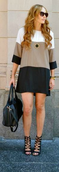 Taupe Color-Block Shift Dress, with leggings and boots                                                                                                                                                                                 More