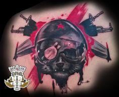 Trash Polka Tattoo Cat Soldier Warrior Old School Coloured tattoo Antalya Turkey Tatovering