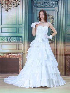 Renelle - trapezio senza spalline abito da sposa in raso con perline