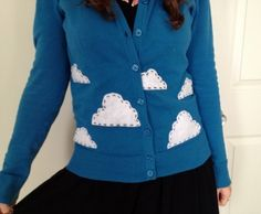 Cloud Cardigan  •  Free tutorial with pictures on how to embellish an applique sweater in under 60 minutes