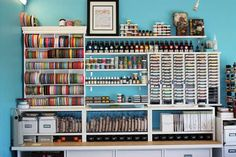Excellent craft station: keywords: storage, station, organization, organize, ribbon, swatches, fabric, yarn, needles, spool, craft, sew, sewing, wrapping, crochet, crocheting, knitting, knit, scrapbook, scrapbooking, cardstock, paint, art, bead, beading, beads.