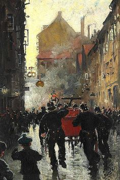 Paul Gustave Fischer - Fire in Lille Kongensgade in Copenhagen, the fire engine is coming to aid