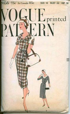1950's Vintage Sewing Pattern - Vogue Portrait Collar Sheath - VOGUE 9456 - Asymetrical Button Closing - Circa 1958