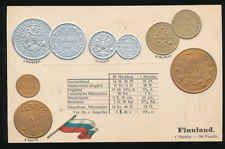 Finnland  Finland   Ansichtskarte  Prägekarte  Münzen   Silber + Gold  Markkaa