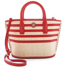 Tory Burch Stripe Straw Mini Tote (£160) ❤ liked on Polyvore