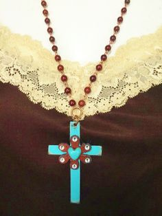 Rustic Metal Turquoise Cross with Heart Necklace Available at Buckaroo Bay Cowgirl Jewelry & Western Accessories BuckarooBay.com