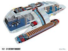 Danube-class runabout cutaway from Star Trek: Deep Space Nine Technical Manual by Doug Drexler Star Trek Bridge, Trek Deck, Stark Trek, Star Trek Online, Starfleet Ships, Pintura Exterior, Star Trek Universe, Marvel Universe, Star Wars