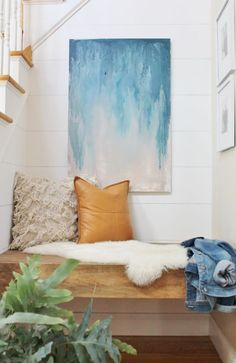 Nook makeover & DIY Abstract Art Tutorial. Planked Walls, Leather Pillow, Morracan Pillow. Floating Bench With Indigo Accents