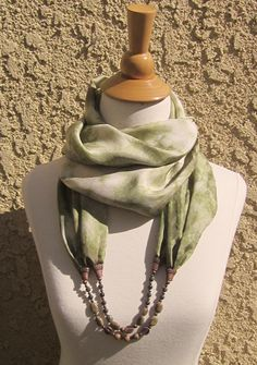 Shibori Hand Dyed One-of-a-kind 100% Silk Circular Infinity Scarf Necklace. Adorned with Two Strand of Jaspers, Quartzite and Copper Beads.