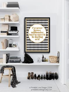 Never Been a Millionaire || kate spade quote, geometric art print, black and gold, anniversary gift, kate spade quote print, chic art print on Etsy, $16.00