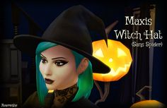 "ameranthe: "" Maxis Witch Hat (Sans Spider) A simple mesh edit of the EA/Maxis witch hat, without that silly dangling spider. Comes in all original colors. Base game compatible. Download Adult Female..."