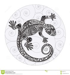 Zentangle Stylized Drawing Of A Lizard. - Download From Over 37 Million High Quality Stock Photos, Images, Vectors. Sign up for FREE today. Image: 59281775