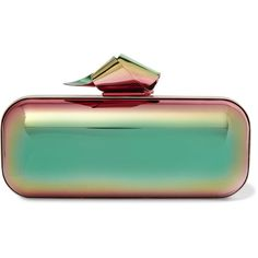 Jimmy Choo Cloud Tube holographic metal clutch ($2,050) ❤ liked on Polyvore featuring bags, handbags, clutches, metallic, jimmy choo clutches, colorful clutches, colorful handbags, metallic clutches and green purse