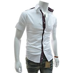 (AL207-WHITE) Slim Fit Checker Patched Stretchy Short Sleeve Shirts