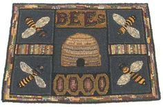 Primitive Hooked Rug Bee Hive Skep Bees via Etsy.