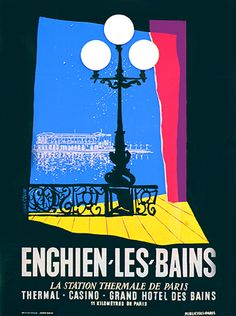 Enghien-les-Bains - la station thermale de Paris - illustration de Jean Colin - 1955 - France -