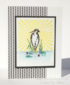 Tutorial Tuesday- Masking To Create A Background Crane Rubber Stamped Card #pwp #paperwingsproductions
