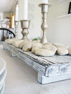 Happy At Home: DIY Rustic Farmhouse Centerpiece. Always love the simple beauty of pieces like this! Using character reclaimed wood and some Miss Mustard Seed's Milk Paint with this and you have a lovely and versatile piece!