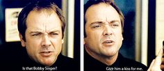 """(gif set) """"Is that Bobby Singer? Give him a kiss for me."""" - Crowley"""
