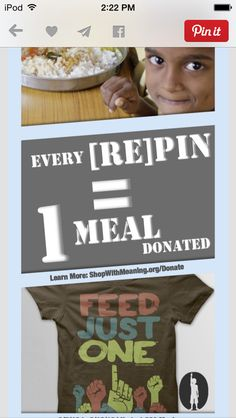 You have to repin this if you want a child to have a meal