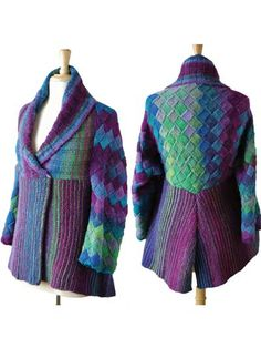 """Kyoto Jacket Knit Pattern - Knit with 12(13,14)balls of Noro Kureyon yarn at a gauge of 14 sts per 4"""", using US size 8/5mm needles. Sized to fit S(M,L). Must know entrelac knitting with garment construction."""