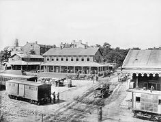 1865 Nashville, TN Train Depot. Notice the State Capital in the top left of the picture.