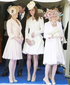 Kate Middleton, Camilla Parker-Bowles and Sophie Wessex. Completely co-ordinating outfits and almost identical nude shoes? Love it! -P.S.