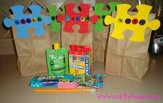 Puzzle party treat bags