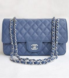 chanel classic flap in light blue